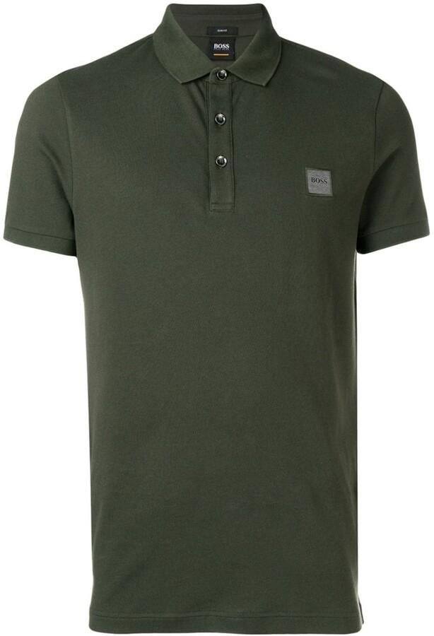 Hugo Boss Pickell 12 Plain Long Sleeved Jersey Polo Green 342 50424284