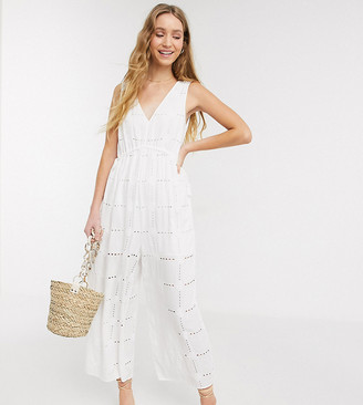 Asos Tall ASOS DESIGN Tall rope drawstring waist detail jumpsuit in daisy broderie