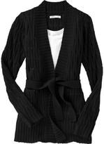 Women's Cable-Knit Tie-Belt Cardigans