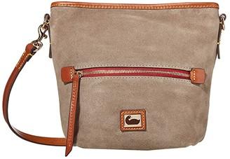Dooney & Bourke Camden Fielding Suede Mini Hobo Crossbody (Grey/Brandy Trim) Handbags