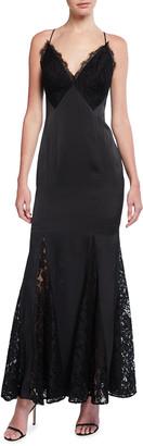 Aidan Mattox V-Neck Charmeuse & Lace Mermaid Dress