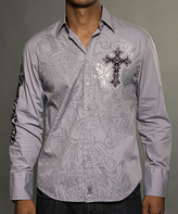 Rebel Spirit Gray 'Rebel Spirit' Sleeve Button-Up - Men's Regular
