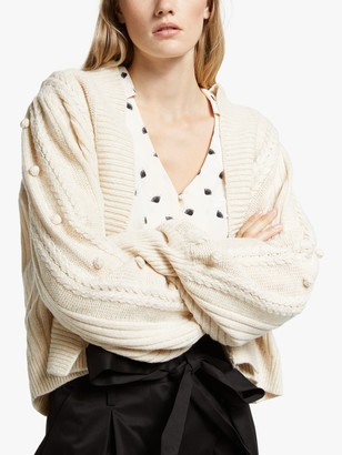 Somerset by Alice Temperley Bobble Knit Cardigan, Ivory
