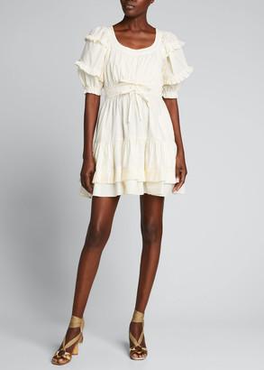 Ulla Johnson Naomi Cotton Ruffle Short Dress