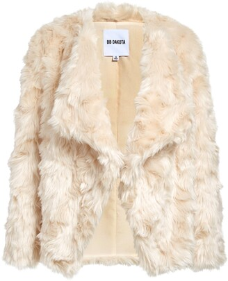 BB Dakota Drape Front Faux Fur Jacket