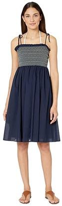 Tory Burch Swimwear Convertible Smocked Dress Cover-Up (Tory Navy) Women's Swimwear