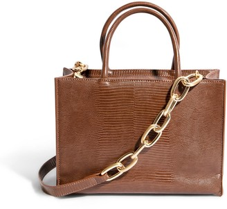 """House of Want """"H.O.W."""" We Gram Small Tote In Chocolate Lizard"""