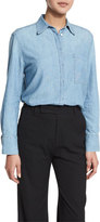 Vince Oversized Chambray Button-Down Top, Bonneville