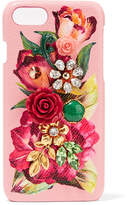 Dolce & Gabbana Embellished Textured-leather Iphone 7 Case - Pink