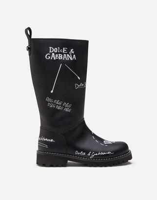 Dolce & Gabbana Calfskin Boots With Logo Print