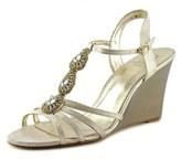 Adrianna Papell Kristen Open Toe Leather Wedge Heel.