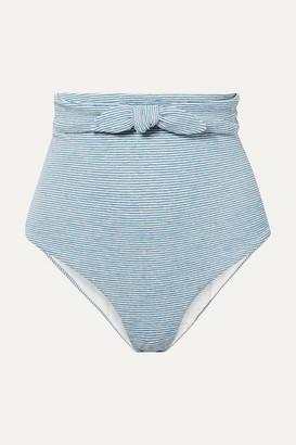 Mara Hoffman + Net Sustain Jay Knotted Striped Jacquard-knit Bikini Briefs - Light blue
