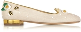 Charlotte Olympia Floral Natural Linen Kitty Flats
