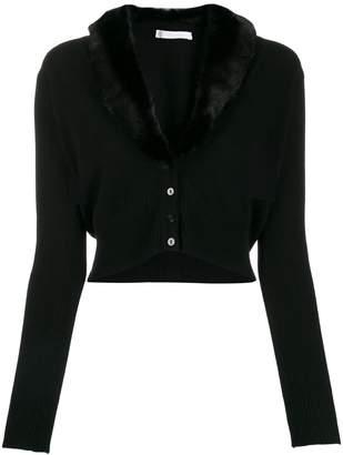 Blumarine faux fur collar cropped cardigan
