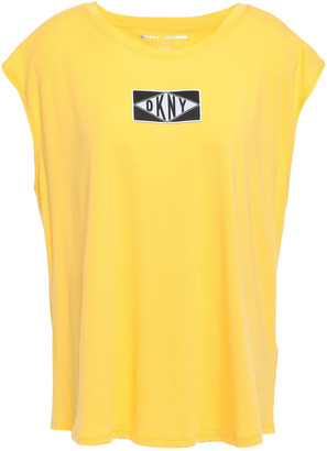 DKNY Appliqued Printed Cotton-jersey T-shirt