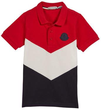 Moncler Tricolor Short-Sleeve Polo Shirt, Size 4-6