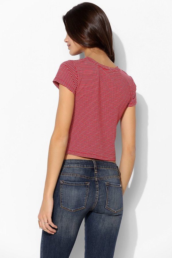 Truly Madly Deeply Kiss Me Stripe Cropped Tee