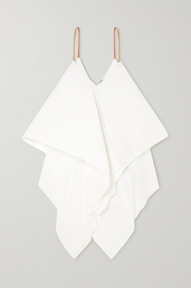 Loewe Leather-trimmed Plisse-crepe Camisole - White