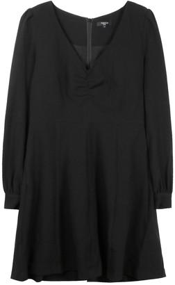 FRNCH Ruched V-Neck Long Sleeve Dress