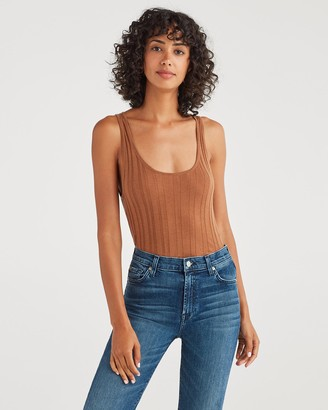 7 For All Mankind Cashmere Blend Racer Back Tank in Penny
