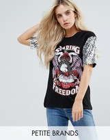 Noisy May Petite Printed T-Shirt With Sequin Sleeve