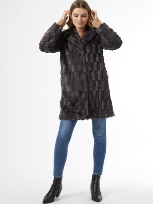 Dorothy Perkins Longline Squiggle Faux Fur Coat - Slate