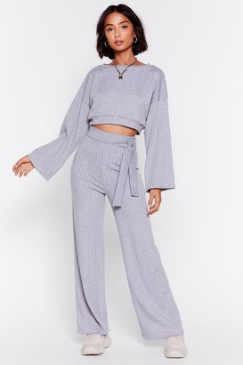 Nasty Gal Womens Rib's Time to Chill Top and Wide-Leg Pants Set - Grey Marl