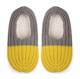 Verloop Colorblock Rib Slippers Grey Yellow S/M