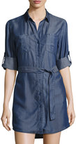 Velvet Heart Roll-Sleeve Button-Front Shirtdress, Light Blue Denim