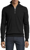 Burberry Merino Wool 1/2-Zip Sweater w/Check Shoulders, Black