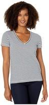 Lucky Brand V-Neck Printed Tee (Navy Stripe) Women's Clothing