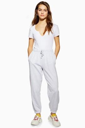 Topshop Womens Petite Grey 90'S Oversized Joggers - Grey Marl
