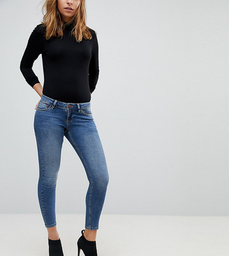 ASOS DESIGN Petite Whitby low rise skinny jeans in andie dark stone wash