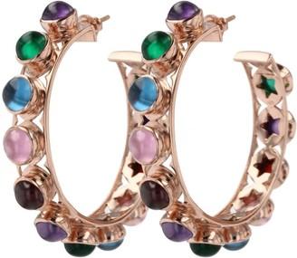 Shari Hoop Earrings Multi Color Cabochon & Rose Gold
