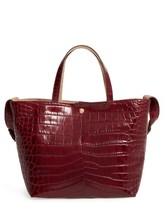 Elizabeth and James Eloise Croc Embossed Leather Tote - Red