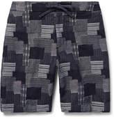 Freemans Sporting Club - Emmett Slim-fit Patchwork Cotton-jacquard Shorts - Indigo