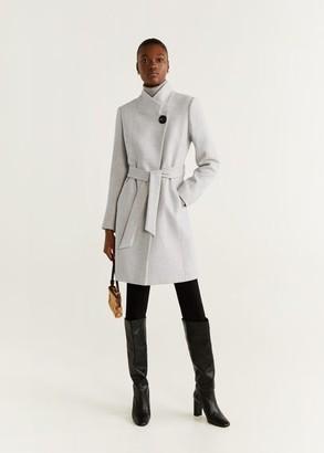 MANGO Belted wool coat light heather grey - S - Women
