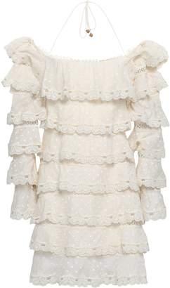 Zimmermann Tiered Swiss-dot Cotton And Silk-blend Halterneck Mini Dress