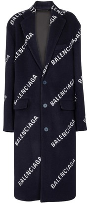 Balenciaga Logo wool and cashmere-blend coat