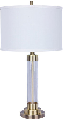 Fangio Lighting Metal and Clear Glass Table Lamp, Antique Brass