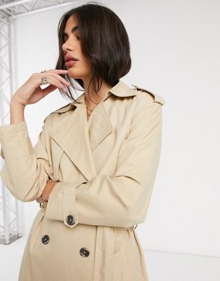 Y.A.S premium maxi trench coat in beige