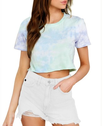 Steve Madden Tie-Dye Cropped Tee Purple Multi