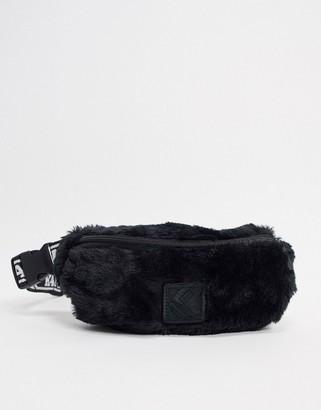 Karl Kani faux fur waist bag in black