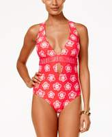 Michael Kors Kanoko Plunge Center Cross Back One Piece Swimsuit