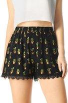 Allegra K Women Cactus Print Lace Trim Elastic Waist Shorts XS Black