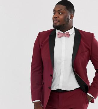 ASOS DESIGN Plus super skinny tuxedo suit jacket in burgundy