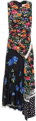 3.1 Phillip Lim Paneled Fringed Floral-print Silk Midi Dress
