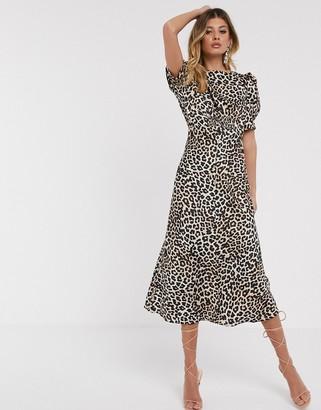 Asos DESIGN midi tea dress in leopard print