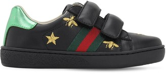 Gucci Embroidered Leather Strap Sneakers