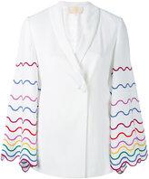 Sara Battaglia embroidered sleeve blazer